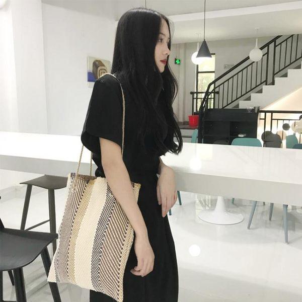 韓系chic編織小眾包包簡約百搭書包女購物袋民族風托特包手提包女 三角衣櫃