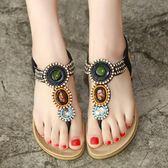 民族風羅馬涼鞋 波西米亞串珠沙灘鞋 夾腳平底鞋《小師妹》sm1937