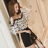 春夏女裝洋氣蕾絲打底小衫超仙的雪紡短袖T恤時尚露肩超仙上衣 QQ20286『MG大尺碼』