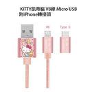 正版 三麗鷗 KITTY凱蒂貓V8線 Micro USB 傳輸線 充電線 (附iPhone轉接頭)