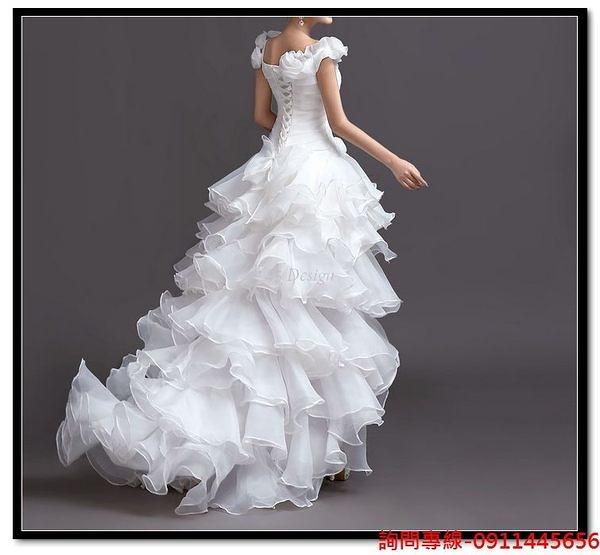 (45 Design) 訂做款式7天到貨單肩花朵奢華蕾絲新娘綁帶前短後長拖尾婚紗禮服