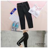Catworld 側線條網紗彈力運動七分褲【12500245】‧S-XL