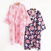 售完即止-日式和服浴衣夏季雙層紗布睡袍女薄款全棉櫻花兔睡衣開衫10-4(庫存清出T)