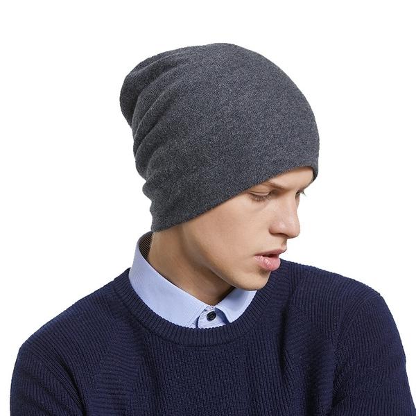 羊毛毛帽-純色百搭休閒秋冬男針織帽6色73wj1【時尚巴黎】