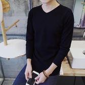 毛衣男 男士毛衣潮流V領修身韓版打底針織衫長袖男裝上衣服   傑克型男館