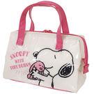 【史努比防水便當袋】史努比 便當袋 手提袋 保溫保冷 防水 粉 日本正版 該該貝比日本精品 ☆