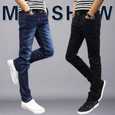【免運】夏季新款彈力男士加絨刷毛牛仔直筒褲款修身小腳褲黑色褲子男韓版潮流