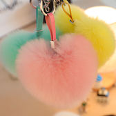 交換禮物-創意愛心狐貍毛球包包掛飾毛絨仿皮草愛心汽車鑰匙扣女心形包掛件