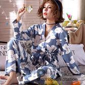 睡衣 春秋季睡衣女士可愛和服長袖薄款秋冬家居服兩件套裝可外穿 跨年狂歡慶
