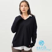 ❖ Winter ❖ 【SET ITEM】前短後長V領落肩針織衫+簡約襯衫上衣 - earth music&ecology