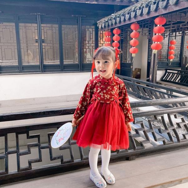 長袖洋裝 新年款女童宮廷風保暖網紗連衣裙
