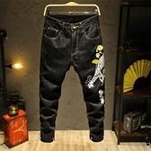 刺繡龍牛仔褲男型男修身小直腳黑色長褲潮流行社會小伙中國風繡花  降價兩天
