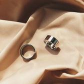 介夫 韓國復古ins網紅款食指戒指銀色寬版潮流韓版男女情侶配飾