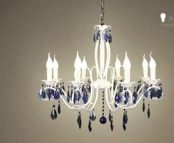 設計師美術精品館白色蠟燭水晶吊燈 鐵藝田園布藝現代簡約客廳燈飾 服裝店燈具