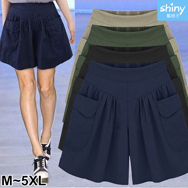 【V9047】shiny藍格子-時尚自我‧顯瘦百搭寬鬆闊腿短褲褲裙