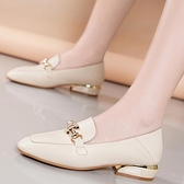 足意爾康女鞋2020秋季新款小皮鞋粗跟樂福鞋女中跟一腳蹬單鞋 時尚芭莎
