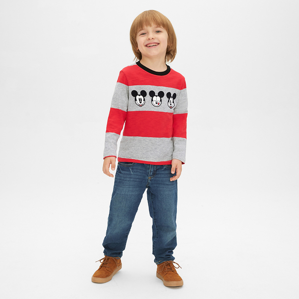 Gap男幼童 Disney迪士尼系列米奇長袖T恤496374-亮麻灰色