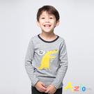 Azio男童 上衣 哈囉黃色鱷魚條紋長袖...