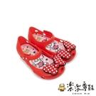 【樂樂童鞋】巴布豆蝴蝶結防水果凍鞋-紅色(附禮盒) C084 - 女童鞋 涼鞋 休閒鞋 果凍鞋 小童鞋