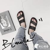 拖鞋-韓國ulzzang原宿風復古雙帶拖鞋女夏外穿學生厚底一字沙灘涼拖鞋-奇幻樂園