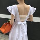 露背洋裝2020白色后露背連身裙女春夏旅游度假超仙長裙性感修身海邊沙灘裙 雲朵走走