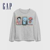 Gap男幼童 Gap x DC正義聯盟系列圓領長袖T恤 617865-淺麻灰
