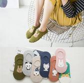 新款 羽毛紗 隱形襪 日系 卡通 船襪 矽膠 小貓 吸汗 透氣 棉襪(五入組)