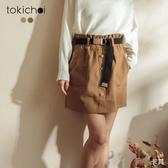 東京著衣-tokichoi-青春可愛腰鬆緊假排釦雙口袋短裙-M.L(191672)