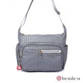 beside u BFYF 印花格紋多口袋斜背包側背包 – 灰藍色
