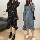 連身裙兩件套M-4XL大尺碼氣質雪紡連衣裙女胖MM寬鬆中長款不規則波點打底裙子G425-A1-8281