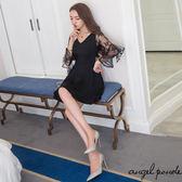 天使波堤~LC0587 ~韓系V 領蕾絲花瓣七分袖傘擺洋裝共二色美炸舞后連身裙 滿額折扣