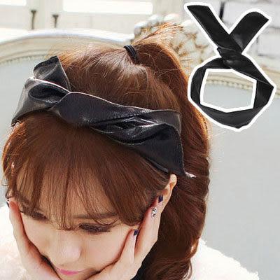 髮帶 韓劇同款黑色皮質髮帶【O2530】☆雙兒網☆