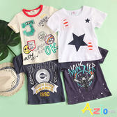 童裝 上衣 趣味塗鴉字母/星星/翅膀機車短袖棉T(共4款) Azio Kids 美國派 童裝