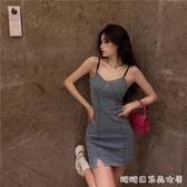 復古氣質牛仔洋装女夏季抹胸v領吊帶裙子年新款性感a字短裙快速出貨