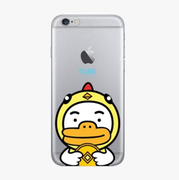 iPhone手機殼 [鐵盒精裝版]。 可掛繩 新年快樂鴨 矽膠軟殼 蘋果iPhone8/iPhone7 6Plus手機殼