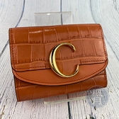 BRAND楓月 CHLOE 蔻依 鮭魚粉橘色 C LOGO 金屬 皮革 壓紋 三折 短夾 錢夾 錢包