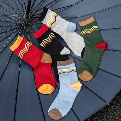 長襪禮盒(5雙裝)-純棉防臭簡約線條時尚男士襪子套組5色72s6【時尚巴黎】