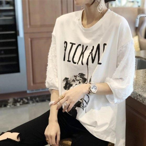 上衣T恤韓系寬鬆休閒衫L-2XL歐貨潮白色短袖寬鬆大碼打底小衫MC019A.5820皇潮天下