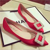 新款工作鞋女黑色瓢鞋女鞋子單鞋淑女鞋平底尖頭紅色婚鞋    初語生活