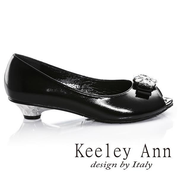 ★2016秋冬★Keeley Ann高貴質感漆皮全真皮鑽飾低跟魚口鞋(黑色)