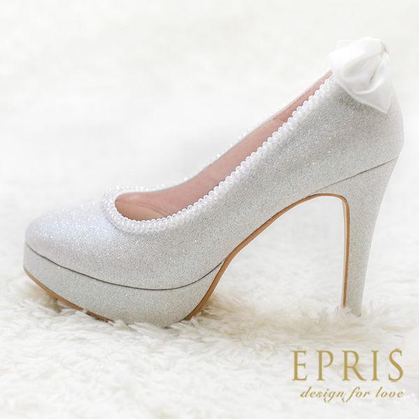 現貨 MIT小中大尺碼新娘婚鞋推薦 泡泡女神 蝴蝶結真皮腳墊高跟鞋 20.5-26 EPRIS艾佩絲-雪白銀