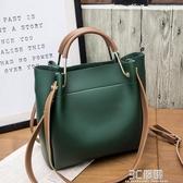 2019新款女包水桶包潮韓版簡約百搭斜背包手提包側背包大包 3C優購