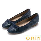 ORIN 輕熟魅力 經典鱷魚壓紋牛皮娃娃鞋-藍色