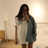 港味圓領寬鬆前後小狗字母印花T恤韓版chic中長款短袖上衣女夏 樂芙美鞋