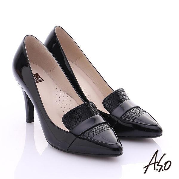 A.S.O 復古女伶 真皮拼接樂福尖楦高跟鞋  黑