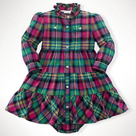 POLO Ralph Lauren 洋裝 長袖 格子 綠色 桃紅色 12M