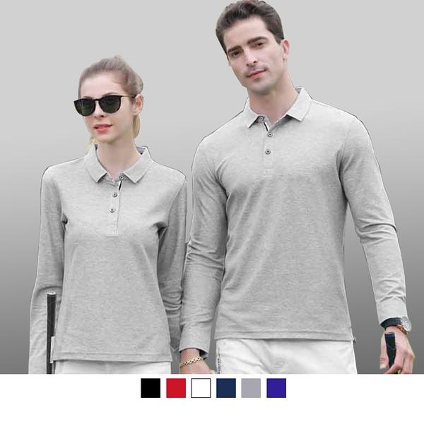 【晶輝團體制服】P2216*PK 布料長袖領口袖口配色長袖網眼POLO衫