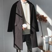 毛呢大衣男中長款冬裝呢子外套寬鬆韓版潮帥氣過膝男士風衣英倫風 moon衣櫥
