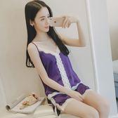 韓版性感吊帶蕾絲冰絲小清新睡衣