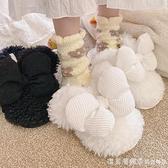 冬季毛毛鞋可愛居家室內地板棉拖少女日系軟妹蝴蝶結保暖毛絨拖鞋 美眉新品